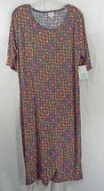 Womens Plus LuLaRoe Dress Julia 2XL Heathered Navy Blue Multi Colored NWT - $44.59