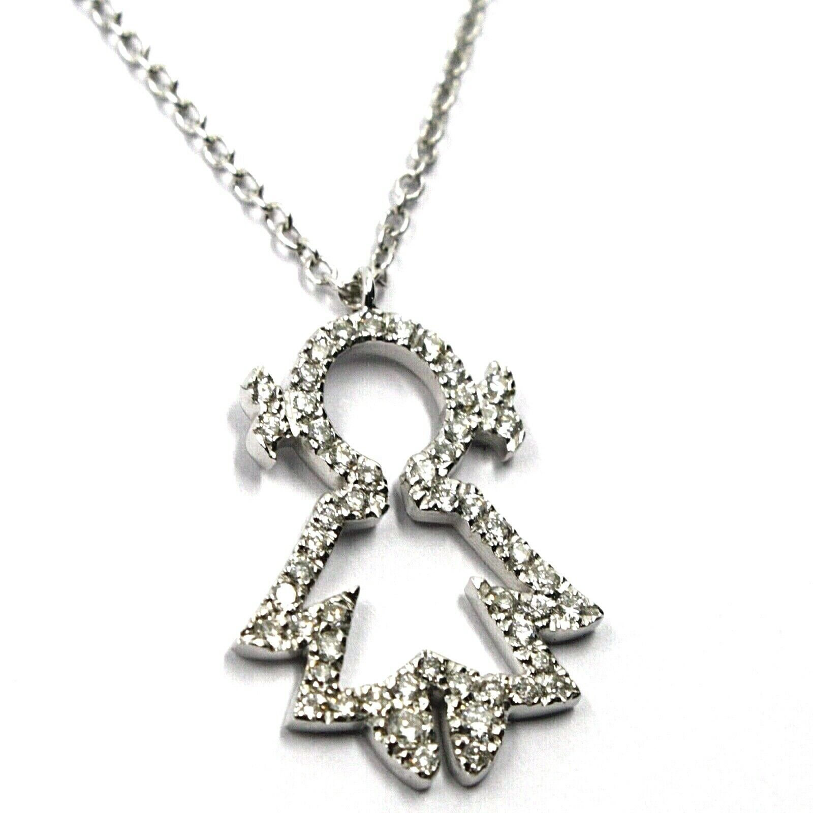 18K WHITE GOLD NECKLACE, BABY, CHILD, GIRL, DAUGHTER PENDANT DIAMONDS ROLO CHAIN