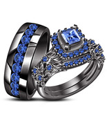 Princess Cut Blue Sapphire Engagement Ring & His Her Band Trio Set in 92... - £129.78 GBP