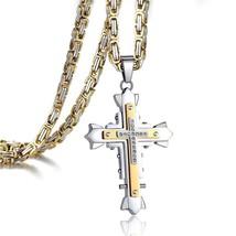 Stainless Steel Dark Knight Cross Pendant Necklace for Men Byzantine  - $59.01