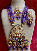Best Quality Awesome Handmade Fashion Kundan Partywear Necklace Set - $125.00