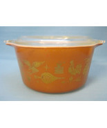 Pyrex Brown Gold Early American 1 Quart Casserole Dish Bowl Clear Lid 1960s - $28.95