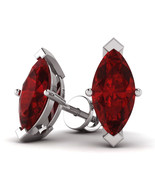 2.00 Cttw Marquise Shape Ruby Solitaire Stud Earrings In 10K White Gold - $126.71