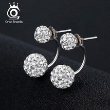 OrsaJewels® Popular Girl Double Sided Ball Stud Earring Crystal Full Set... - $6.59