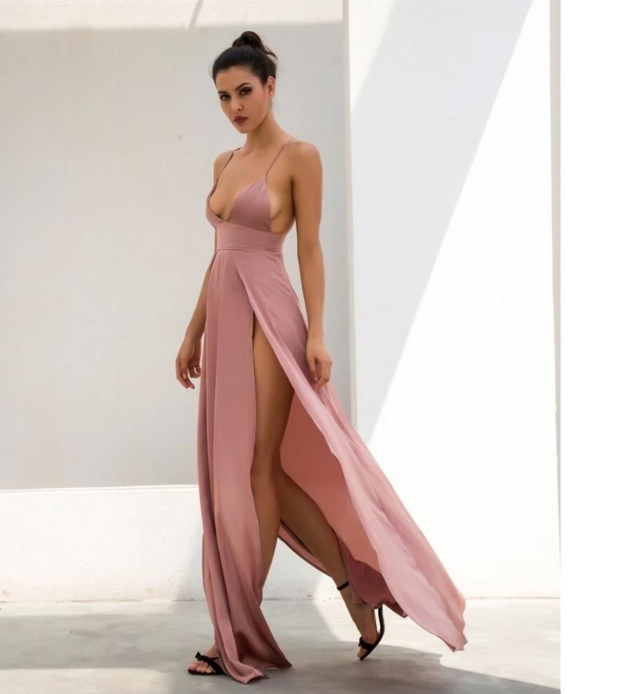 Primary image for Spaghetti Straps Nude V-Neck Thigh High Split Maxi Club Dress