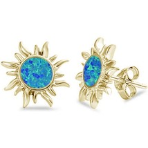 Yellow Gold Plated Blue Opal Sun .925 Sterling Silver Earrings - $14.24