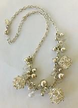 Necklace Chunky Glitzy Costume Jewelry Silver-Tone + Rhinestones & Beads... - $8.27
