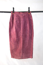 Vintage 70s Dusty Raspberry Pink Suede Leather Hippie Boho Maxi Skirt 26... - $29.69