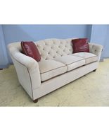 Thomasville Upholstery Rendezvous Chenille & Leather Button Tufted Sofa ... - $2,999.00