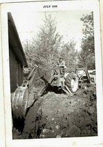 Old Vintage Antique Photograph Man Doing Work With Bulldozer in Yard 1966 - $6.93