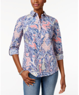 Charter Club Petite Cotton Paisley-Print Shirt in Peach Blush, size 4 Pe... - $26.72