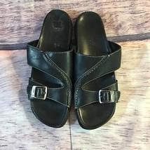 Timberland Smart Comfort System Sandals Women Size 7.5 Black Leather Sli... - $25.74 CAD