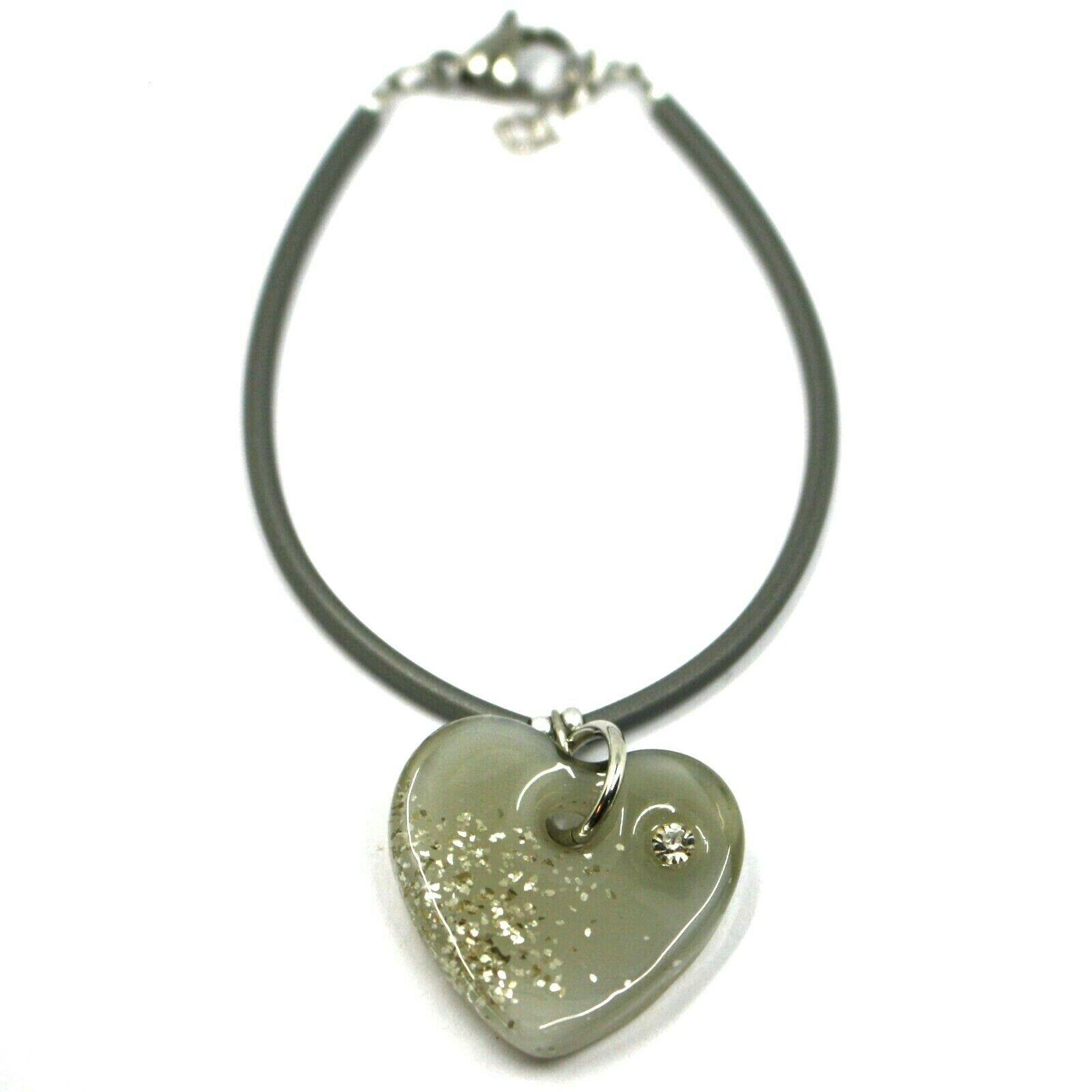 Bracelet Rubber and Steel Antica Murrina Venezia, BR096M12, Heart Glass Gray