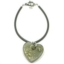 Bracelet Rubber and Steel Antica Murrina Venezia, BR096M12, Heart Glass Gray image 1