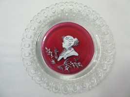 Vintage Westmoreland Hand Painted Ruby Flashed Plate Rose/Mary Gregory S... - $9.00