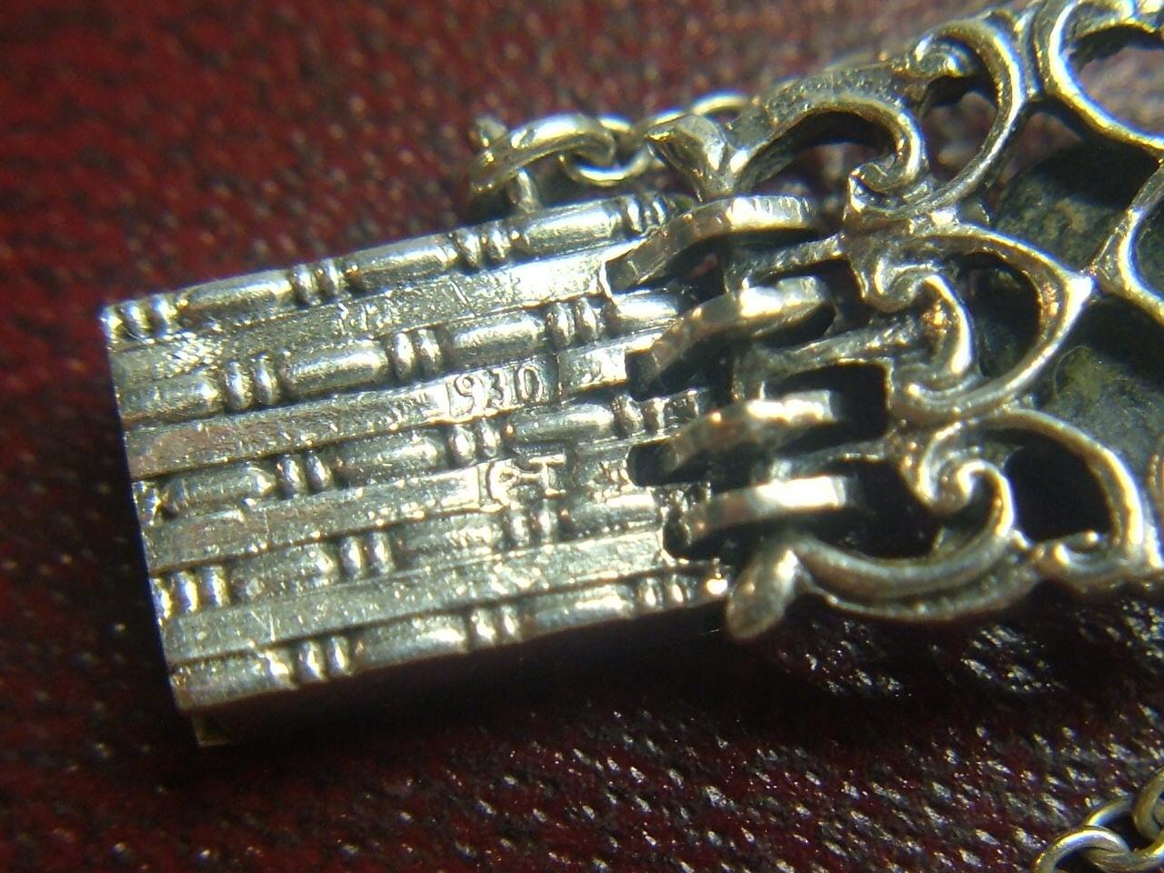 c.1905 Rare Antique Gustav Hauber Fine 930 Silver Amethyst Art Nouveau Bracelet