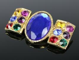 Vintage Gold Tone Stones PISCES Jewel Fashion Signed Costume Jewelry Bro... - $24.11