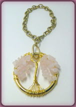 Rose Quartz Chips Wire Wrapped Tree of Life Auto Rear View Mirror Dangle - $16.00