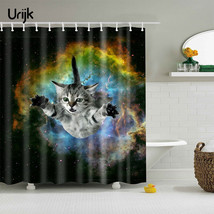 Urijk 1PC Cartoon 3D Cat Bath Curtain Bathroom Product Universe Printing... - $30.74