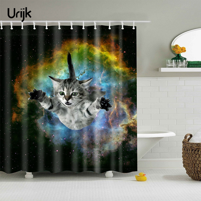 C cartoon 3d cat bath curtain bathroom product universe printing shower curtain water and mildew