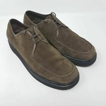 Salvatore Ferragamo Mens Oxfords Shoes Brown Suede Lace Up Moc Toe Italy... - $74.87