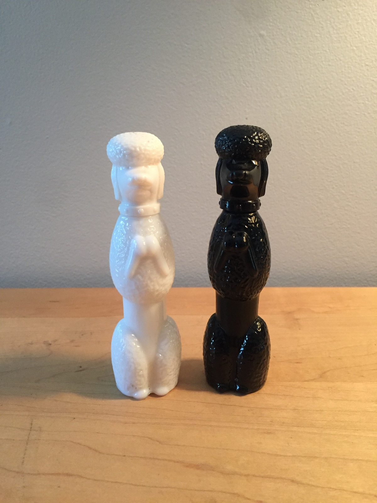 70s Avon Black and White Poodles cologne bottles (Cotillion)