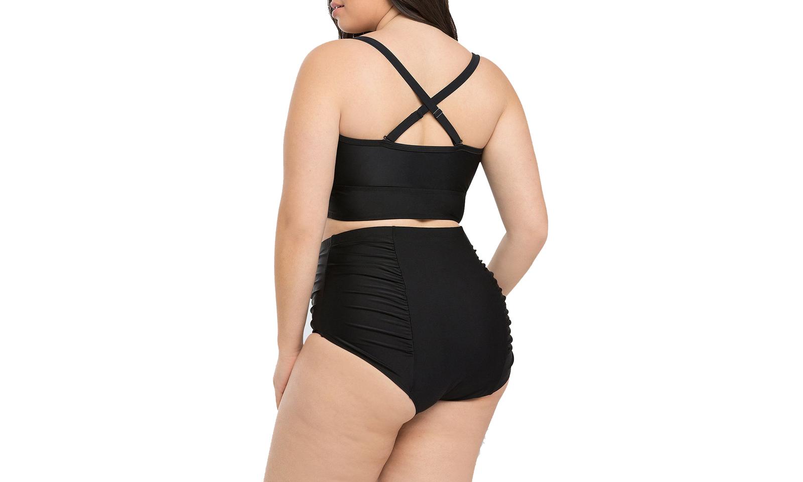 Women's Ruched High Waist Two Pieces Bikini Set