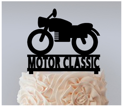 Wedding,Birthday Cake topper,Cupcake topper,silhouette motorcycle classic 11 pcs - $20.00