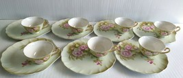 LEFTON Heritage Green Pink Roses Hand Painted Snack Plate and Cup Set of... - $99.99