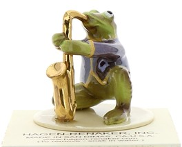 Hagen-Renaker Miniature Ceramic Frog Figurine Toadally Brass Band Saxophone image 4