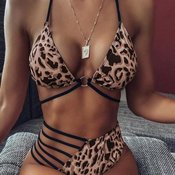 30 leopard swimsuit women swimwear women ladies split bikini set swimwear leopard cutout women s