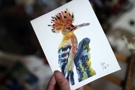 """Hoopoe small bird art 5""""x6"""". Colorful pretty bird watercolor painting or... - $20.00"""