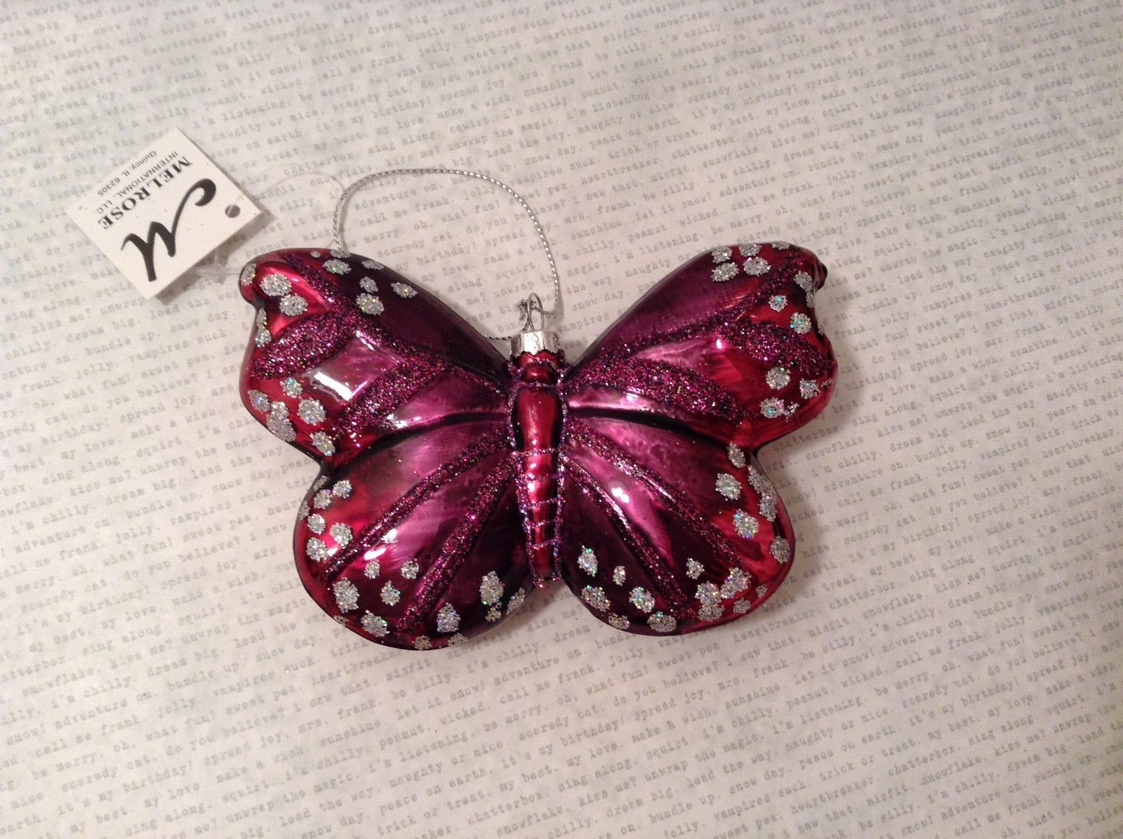Melrose Butterfly Christmas Glass Ornament Burgundy Red Silver Dots 3 Inch High