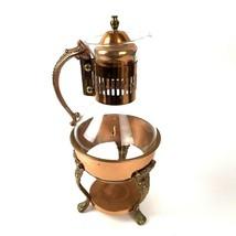 Vintage Carafe Copper & Glass Coffee Tea Pot Warmer Server Corning metal... - $39.55