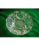 "Deep Cut Glass Bowl Dish Rose Design Heavy Beautiful 7.75"" Vintage - $14.95"