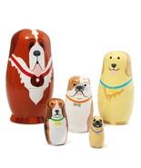 Russian Wooden Nesting Dolls Dogs Matryoshka Hand Painted Gift 5pcs Set - $19.65