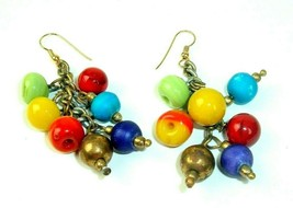 Vtg Earrings Glass Bead 70s Mod Statement colorful Hippie Boho Chic Danglers - $14.84