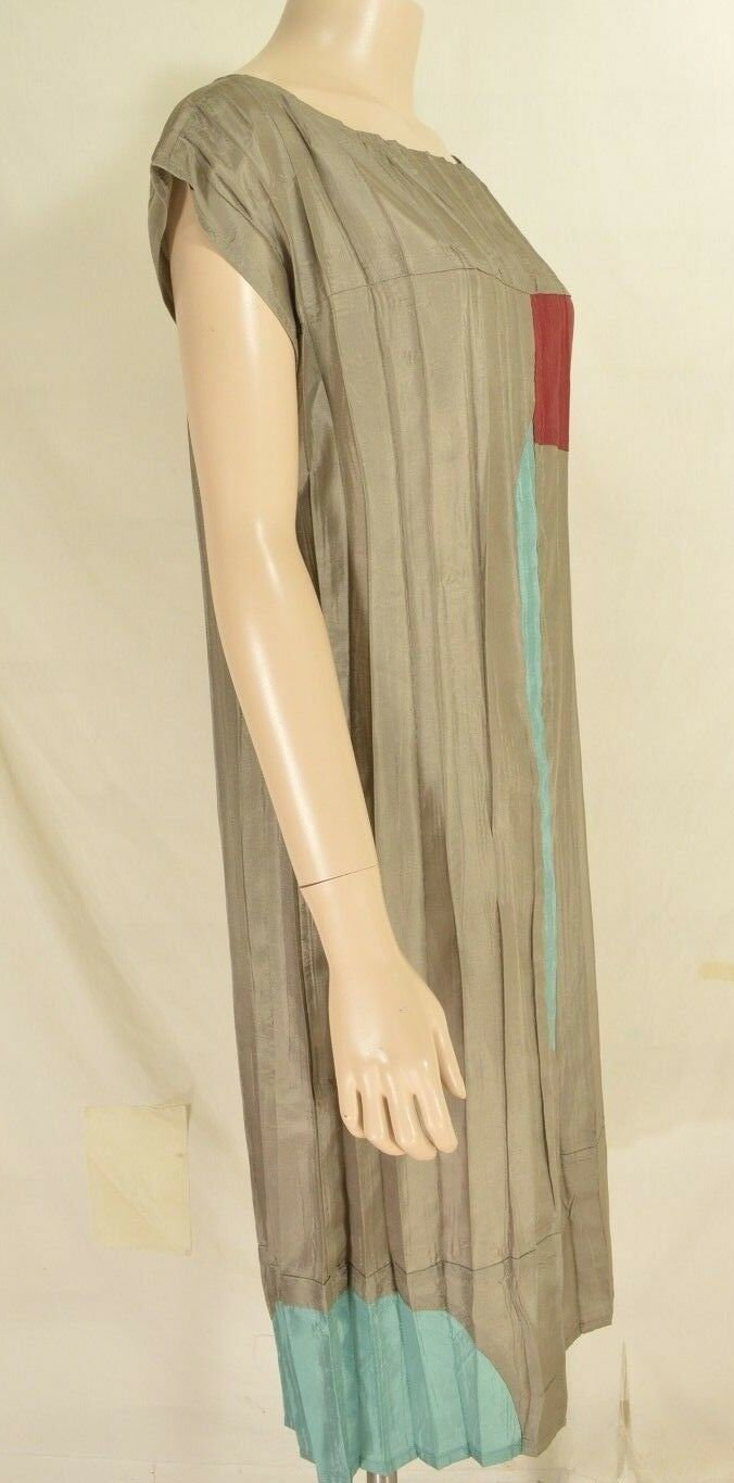 Babette SF dress SZ S gray taupe color block cap dolman sleeves crinkle USA