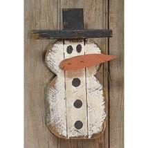 Primitive LATH HANGING SNOWMAN Christmas Country Farmhouse Wood Winter D... - $41.99