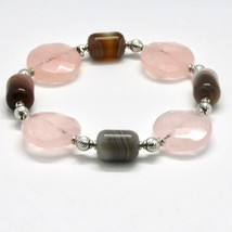SILVER 925 BRACELET LAMINATED GOLD PINK WITH QUARTZ ROSE AND CHALCEDONY image 2