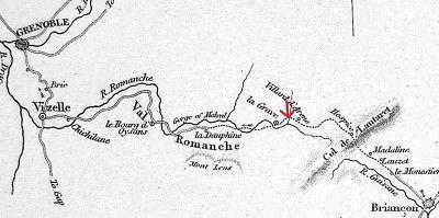 ALPS France Falls of River Romanche near Briancon - SCARCE 1836 Antique Print