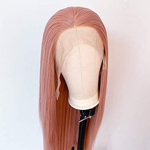 Pink Wig Synthetic Lace Front Wigs for Women Long Straight Peach Pink Wig Heat R