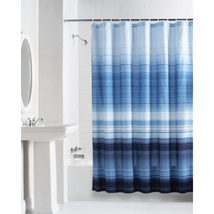 """Shades Of Variegated Striped Blues Fabric Shower Curtain, Modern , 70""""x7... - $18.79"""