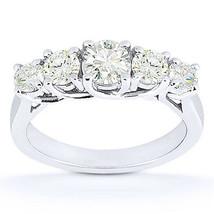 Round Cut Forever Brilliant Moissanite 14k White Gold Trellis Wedding Ri... - €657,23 EUR+