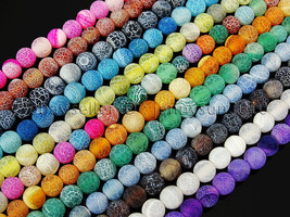 """Colorful Matte Fire Crackle Agate Gemstones Round Beads 15"""" 4mm 6mm 8mm ... - $2.77+"""