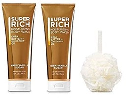 Bath & Body Works Warm Vanilla Sugar Moisturizing Shea Butter Body Wash & Pouf - $27.50