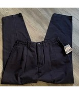 Vintage NEW Lee Side Elastic Waist Pants 18 Short Navy Blue Pleated Pockets - $46.48