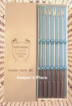 Vintage Northland Oneida Fondue Forks Stainless Dice Wood Handles Set Of... - $15.48
