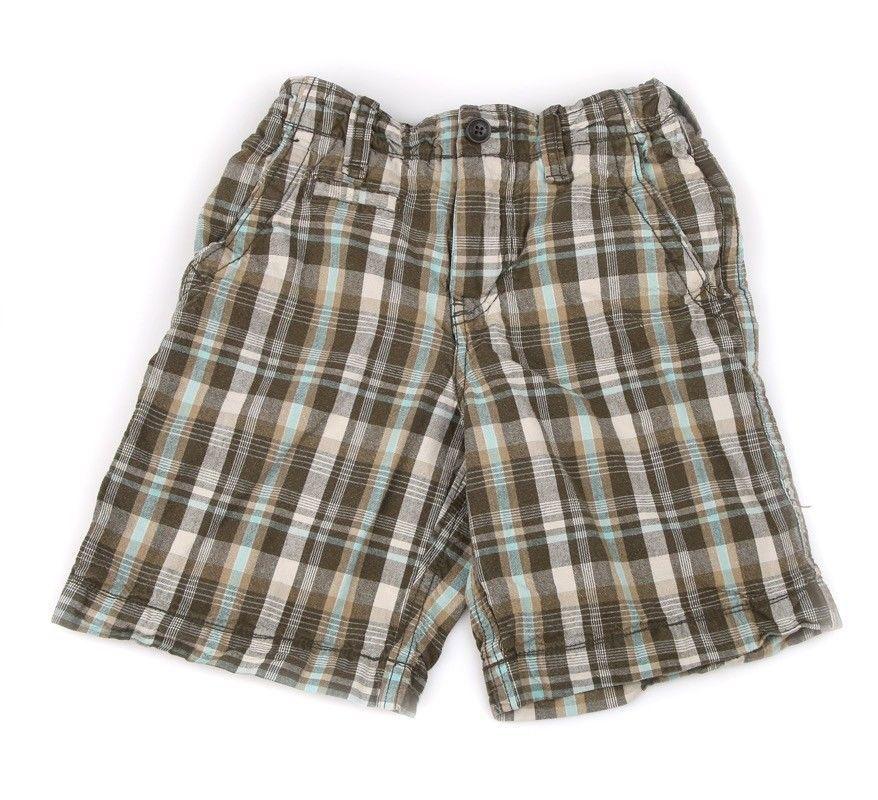 GAP Kids Plaid Green Olive Shorts Ivory Adjustable Elastic Waist Cotton 8