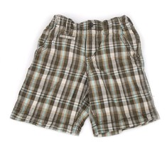 GAP Kids Plaid Green Olive Shorts Ivory Adjustable Elastic Waist Cotton 8 - $8.90